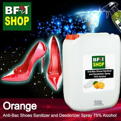 Anti-Bac Shoes Sanitizer and Deodorizer Spray (ABSSD) - 75% Alcohol with Orange - 25L