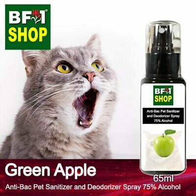 Anti-Bac Pet Sanitizer and Deodorizer Spray (ABPSD-Cat) - 75% Alcohol with Apple - Green Apple - 65ml for Cat and Kitten