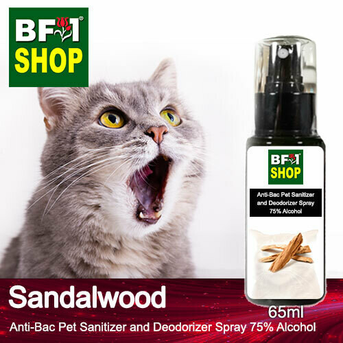 Anti-Bac Pet Sanitizer and Deodorizer Spray (ABPSD-Cat) - 75% Alcohol with Sandalwood - 65ml for Cat and Kitten