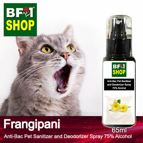 Anti-Bac Pet Sanitizer and Deodorizer Spray (ABPSD-Cat) - 75% Alcohol with Frangipani - 65ml for Cat and Kitten