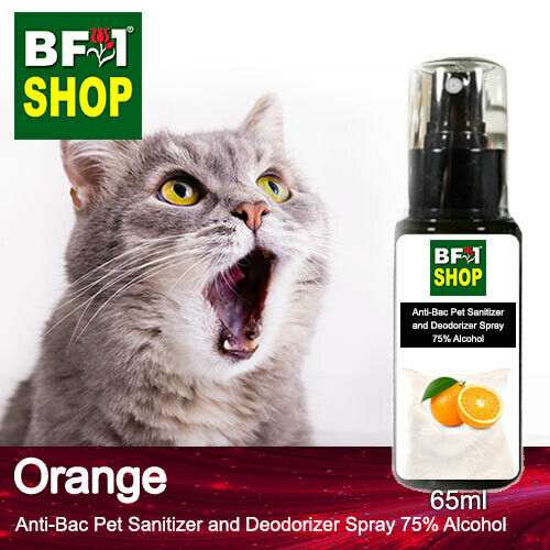 Anti-Bac Pet Sanitizer and Deodorizer Spray (ABPSD-Cat) - 75% Alcohol with Orange - 65ml for Cat and Kitten