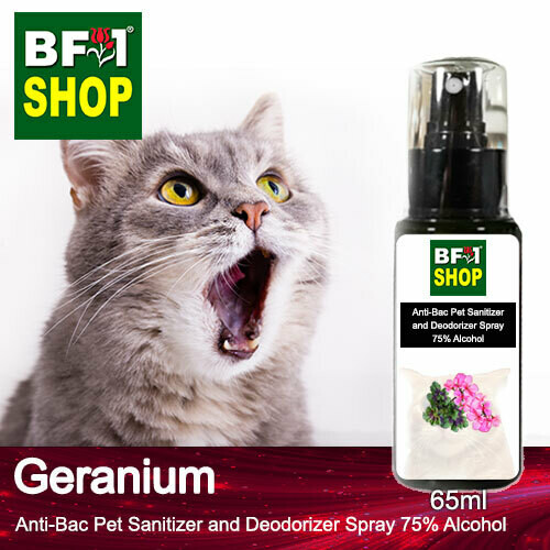 Anti-Bac Pet Sanitizer and Deodorizer Spray (ABPSD-Cat) - 75% Alcohol with Geranium - 65ml for Cat and Kitten