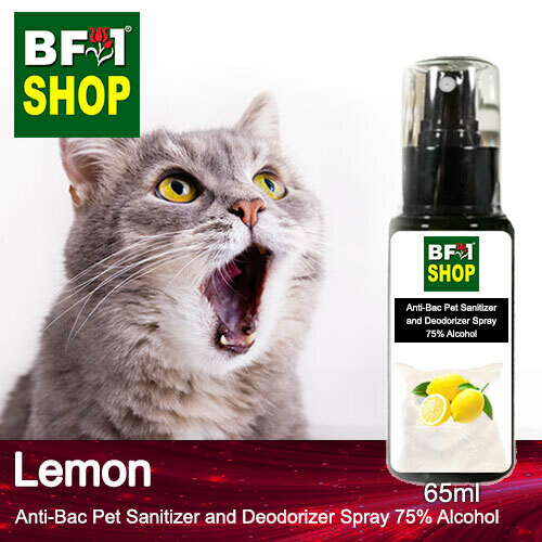 Anti-Bac Pet Sanitizer and Deodorizer Spray (ABPSD-Cat) - 75% Alcohol with Lemon - 65ml for Cat and Kitten