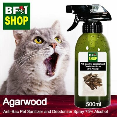Anti-Bac Pet Sanitizer and Deodorizer Spray (ABPSD-Cat) - 75% Alcohol with Agarwood - 500ml for Cat and Kitten