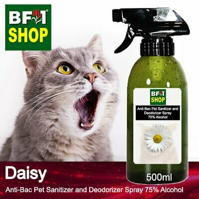 Anti-Bac Pet Sanitizer and Deodorizer Spray (ABPSD-Cat) - 75% Alcohol with Daisy - 500ml for Cat and Kitten