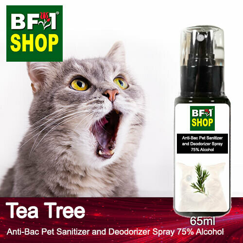 Anti-Bac Pet Sanitizer and Deodorizer Spray (ABPSD-Cat) - 75% Alcohol with Tea Tree - 65ml for Cat and Kitten