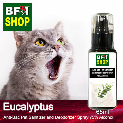 Anti-Bac Pet Sanitizer and Deodorizer Spray (ABPSD-Cat) - 75% Alcohol with Eucalyptus - 65ml for Cat and Kitten