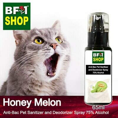 Anti-Bac Pet Sanitizer and Deodorizer Spray (ABPSD-Cat) - 75% Alcohol with Honey Melon - 65ml for Cat and Kitten