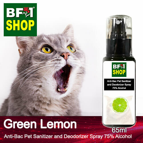 Anti-Bac Pet Sanitizer and Deodorizer Spray (ABPSD-Cat) - 75% Alcohol with Lemon - Green Lemon - 65ml for Cat and Kitten