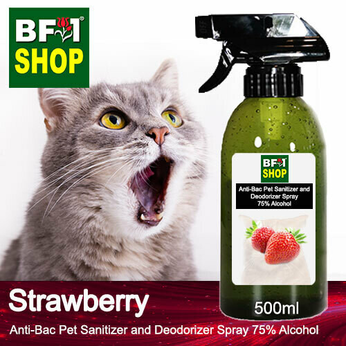 Anti-Bac Pet Sanitizer and Deodorizer Spray (ABPSD-Cat) - 75% Alcohol with Strawberry - 500ml for Cat and Kitten