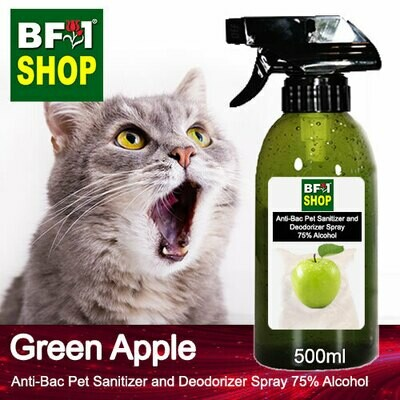 Anti-Bac Pet Sanitizer and Deodorizer Spray (ABPSD-Cat) - 75% Alcohol with Apple - Green Apple - 500ml for Cat and Kitten