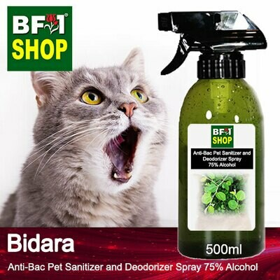 Anti-Bac Pet Sanitizer and Deodorizer Spray (ABPSD-Cat) - 75% Alcohol with Bidara - 500ml for Cat and Kitten
