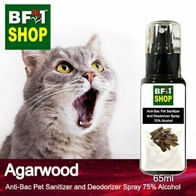 Anti-Bac Pet Sanitizer and Deodorizer Spray (ABPSD-Cat) - 75% Alcohol with Agarwood - 65ml for Cat and Kitten