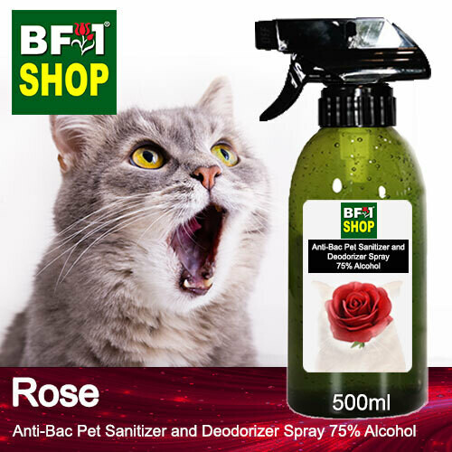 Anti-Bac Pet Sanitizer and Deodorizer Spray (ABPSD-Cat) - 75% Alcohol with Rose - 500ml for Cat and Kitten