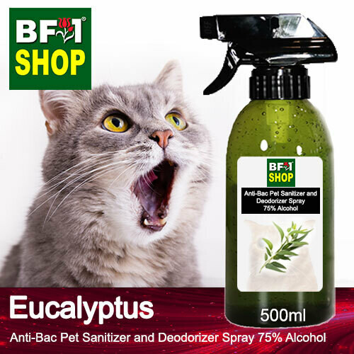 Anti-Bac Pet Sanitizer and Deodorizer Spray (ABPSD-Cat) - 75% Alcohol with Eucalyptus - 500ml for Cat and Kitten