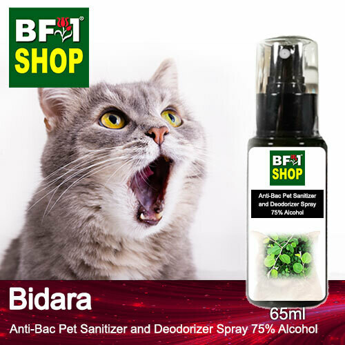Anti-Bac Pet Sanitizer and Deodorizer Spray (ABPSD-Cat) - 75% Alcohol with Bidara - 65ml for Cat and Kitten