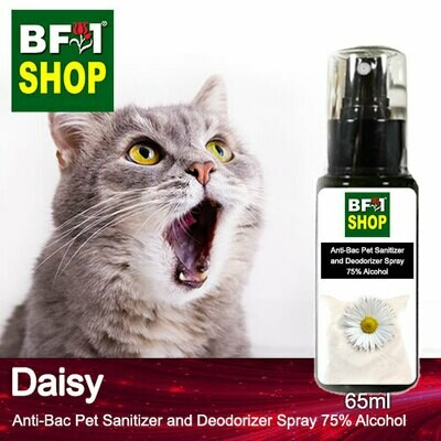Anti-Bac Pet Sanitizer and Deodorizer Spray (ABPSD-Cat) - 75% Alcohol with Daisy - 65ml for Cat and Kitten