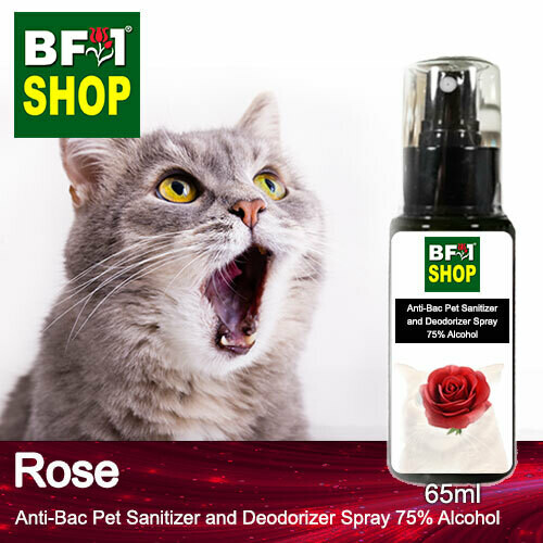 Anti-Bac Pet Sanitizer and Deodorizer Spray (ABPSD-Cat) - 75% Alcohol with Rose - 65ml for Cat and Kitten