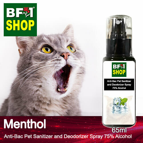 Anti-Bac Pet Sanitizer and Deodorizer Spray (ABPSD-Cat) - 75% Alcohol with Menthol - 65ml for Cat and Kitten