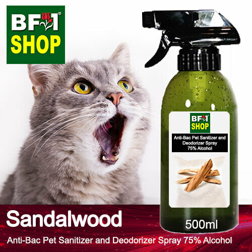 Anti-Bac Pet Sanitizer and Deodorizer Spray (ABPSD-Cat) - 75% Alcohol with Sandalwood - 500ml for Cat and Kitten
