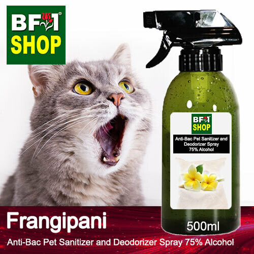 Anti-Bac Pet Sanitizer and Deodorizer Spray (ABPSD-Cat) - 75% Alcohol with Frangipani - 500ml for Cat and Kitten