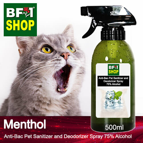 Anti-Bac Pet Sanitizer and Deodorizer Spray (ABPSD-Cat) - 75% Alcohol with Menthol - 500ml for Cat and Kitten