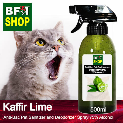 Anti-Bac Pet Sanitizer and Deodorizer Spray (ABPSD-Cat) - 75% Alcohol with lime - Kaffir Lime - 500ml for Cat and Kitten