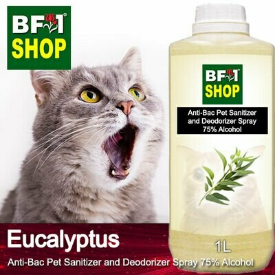 Anti-Bac Pet Sanitizer and Deodorizer Spray (ABPSD-Cat) - 75% Alcohol with Eucalyptus - 1L for Cat and Kitten