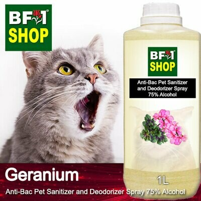 Anti-Bac Pet Sanitizer and Deodorizer Spray (ABPSD-Cat) - 75% Alcohol with Geranium - 1L for Cat and Kitten