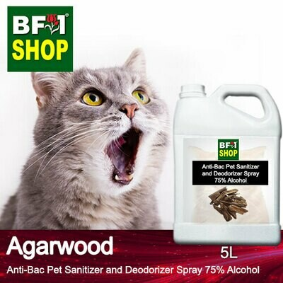 Anti-Bac Pet Sanitizer and Deodorizer Spray (ABPSD-Cat) - 75% Alcohol with Agarwood - 5L for Cat and Kitten