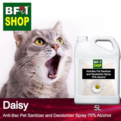 Anti-Bac Pet Sanitizer and Deodorizer Spray (ABPSD-Cat) - 75% Alcohol with Daisy - 5L for Cat and Kitten