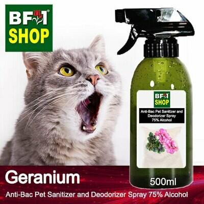 Anti-Bac Pet Sanitizer and Deodorizer Spray (ABPSD-Cat) - 75% Alcohol with Geranium - 500ml for Cat and Kitten