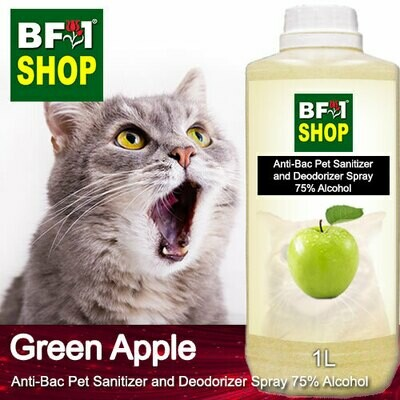 Anti-Bac Pet Sanitizer and Deodorizer Spray (ABPSD-Cat) - 75% Alcohol with Apple - Green Apple - 1L for Cat and Kitten