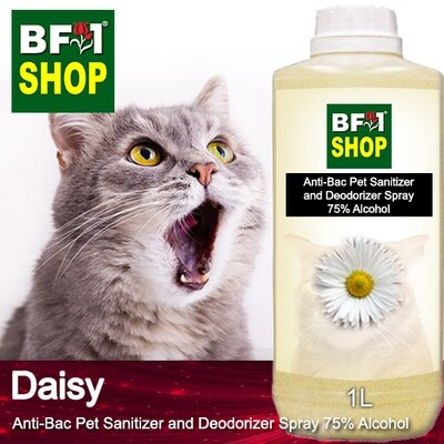 Anti-Bac Pet Sanitizer and Deodorizer Spray (ABPSD-Cat) - 75% Alcohol with Daisy - 1L for Cat and Kitten