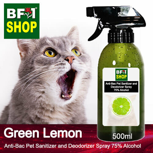 Anti-Bac Pet Sanitizer and Deodorizer Spray (ABPSD-Cat) - 75% Alcohol with Lemon - Green Lemon - 500ml for Cat and Kitten