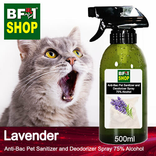 Anti-Bac Pet Sanitizer and Deodorizer Spray (ABPSD-Cat) - 75% Alcohol with Lavender - 500ml for Cat and Kitten