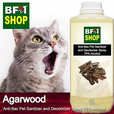 Anti-Bac Pet Sanitizer and Deodorizer Spray (ABPSD-Cat) - 75% Alcohol with Agarwood - 1L for Cat and Kitten