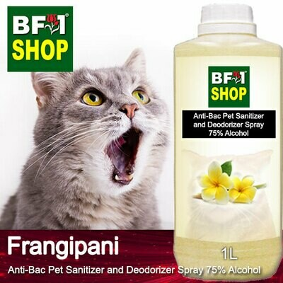 Anti-Bac Pet Sanitizer and Deodorizer Spray (ABPSD-Cat) - 75% Alcohol with Frangipani - 1L for Cat and Kitten