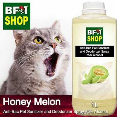 Anti-Bac Pet Sanitizer and Deodorizer Spray (ABPSD-Cat) - 75% Alcohol with Honey Melon - 1L for Cat and Kitten