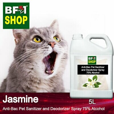 Anti-Bac Pet Sanitizer and Deodorizer Spray (ABPSD-Cat) - 75% Alcohol with Jasmine - 5L for Cat and Kitten