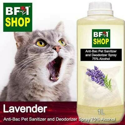 Anti-Bac Pet Sanitizer and Deodorizer Spray (ABPSD-Cat) - 75% Alcohol with Lavender - 1L for Cat and Kitten
