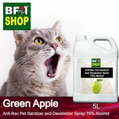 Anti-Bac Pet Sanitizer and Deodorizer Spray (ABPSD-Cat) - 75% Alcohol with Apple - Green Apple - 5L for Cat and Kitten