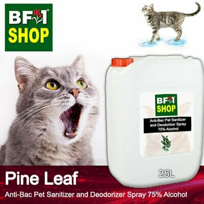 Anti-Bac Pet Sanitizer and Deodorizer Spray (ABPSD-Cat) - 75% Alcohol with Pine Leaf - 25L for Cat and Kitten