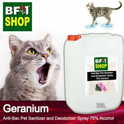 Anti-Bac Pet Sanitizer and Deodorizer Spray (ABPSD-Cat) - 75% Alcohol with Geranium - 25L for Cat and Kitten