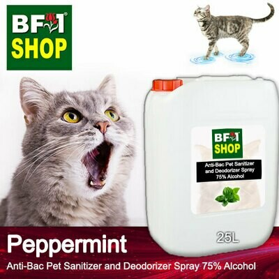Anti-Bac Pet Sanitizer and Deodorizer Spray (ABPSD-Cat) - 75% Alcohol with mint - Peppermint - 25L for Cat and Kitten