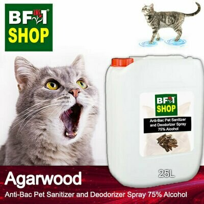 Anti-Bac Pet Sanitizer and Deodorizer Spray (ABPSD-Cat) - 75% Alcohol with Agarwood - 25L for Cat and Kitten