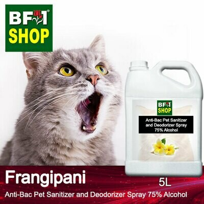 Anti-Bac Pet Sanitizer and Deodorizer Spray (ABPSD-Cat) - 75% Alcohol with Frangipani - 5L for Cat and Kitten
