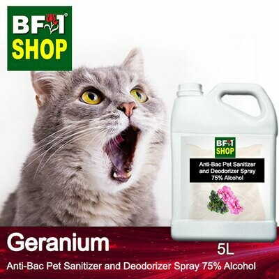 Anti-Bac Pet Sanitizer and Deodorizer Spray (ABPSD-Cat) - 75% Alcohol with Geranium - 5L for Cat and Kitten