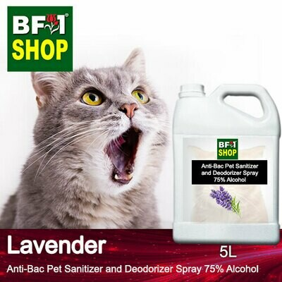 Anti-Bac Pet Sanitizer and Deodorizer Spray (ABPSD-Cat) - 75% Alcohol with Lavender - 5L for Cat and Kitten