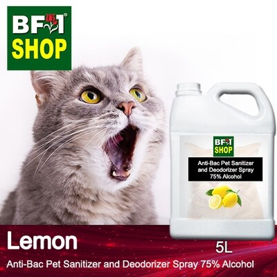 Anti-Bac Pet Sanitizer and Deodorizer Spray (ABPSD-Cat) - 75% Alcohol with Lemon - 5L for Cat and Kitten